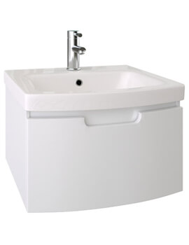 Saneux I Line Gloss White 500mm Wide 1 Drawer Wall Hung Cabinet With Washbasin