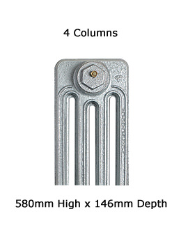 Apollo Firenze 4 Column Cast Iron Radiator 580mm High - 6 To 20 Sections