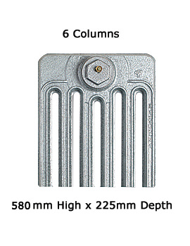 Apollo Firenze 6 Column Cast Iron Radiator 580mm High - 6 To 20 Sections