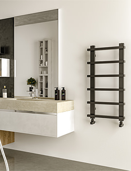Radox Saber Matt Black Designer Heated Towel Rail 500 x 1000mm