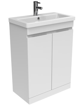 Saneux Air 600mm Floor Standing 2 Door Cabinet With 1 Taphole Basin