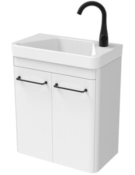 Saneux Hyde 2 Door 488mm Wide Wall Hung Unit With 1 Taphole Basin