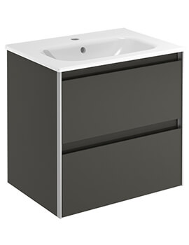 Frontline Royo Valencia 600mm 2 Drawer Wall Hung Vanity Unit With Basin