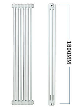 Apollo Roma Vertical 1800mm Height Steel 2 Column Radiator - 2C18H200