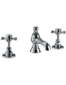 Imperial Victorian 3 Hole Basin Mixer Tap With Pop Up Waste
