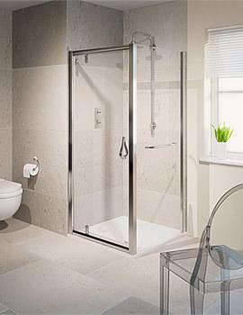 Aqualux Aqua 6 Pivot Shower Door 800mm Polished Silver