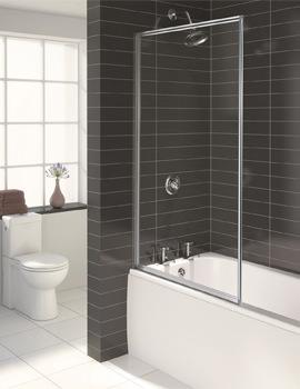 Aqualux Aqua 3 Pearl Silver Fully Framed Outward Opening 3mm Glass Bath Screen