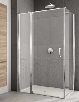 Lakes Italia Rilassa 900mm Semi-Frameless Left Hand Pivot Door And In-Line Panel With Optional Side Panel