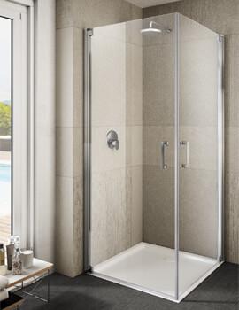 Lakes Italia Ritiro Semi-Frameless Pivot Door Corner Entry Enclosure 700 x 700mm