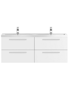 Hudson Reed Quartet 1440 x 510mm 4 Drawer Vanity Unit And Double Basin