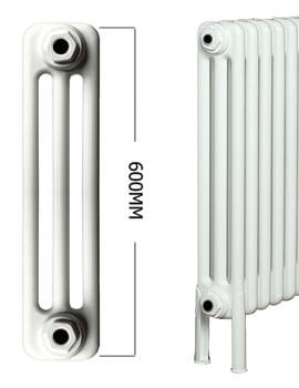 Apollo Roma Horizontal 600mm Height 3 Column Steel Radiator With Feets