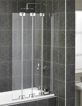 Aqua 6 Polished Silver 850 x 1500mm Frame 4 Fold Bath Screen