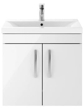 Premier Athena 600mm Wall Hung 2 Door Cabinet With Basin 1