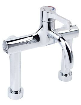 Twyford Sola Chrome Thermostatic Deck Mounted Surgeons Mixer Lever Tap