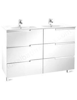Roca Victoria-N 1200mm Gloss White Vanity Unit With 6 Drawer