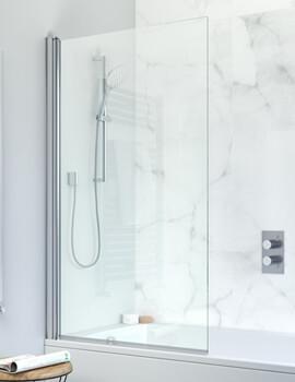 Crosswater Design Plus Frameless Double Bath Screen 1060 x 1500mm - Outward Opening