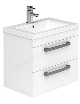 Essential Nevada 600mm Wall Mounted 2 Drawers Vanity Unit And Basin
