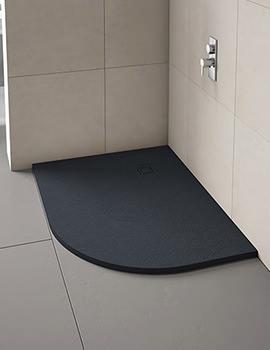 Merlyn TrueStone Offset Quadrant Tray With Waste 1000 x 800mm LH - Slate Black