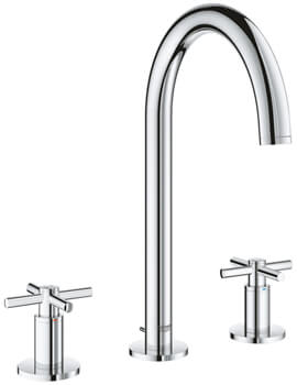 Grohe Atrio Three Hole Deck Mounted Basin Mixer Tap With Pop Up Waste