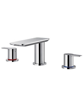 Flova Spring 3 Hole Basin Mixer Tap With Clicker Waste Set