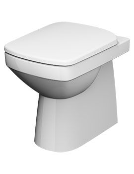 Twyford E100 White Square Rimfree Flushwise Back To Wall 355mm Toilet Pan