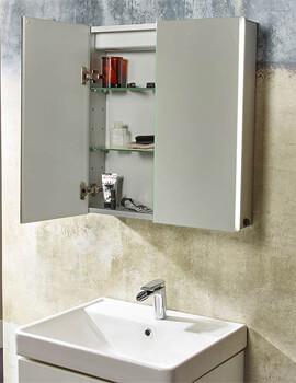 Tavistock Sleek Double Door Mirror Cabinet With LED Lighting