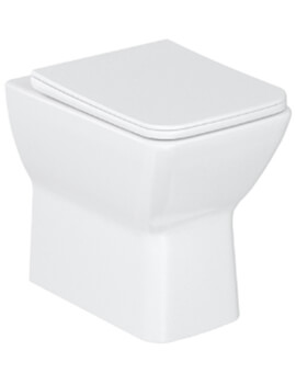 Britton Shoreditch Square Rimless Back To Wall WC Pan With Soft Close Seat