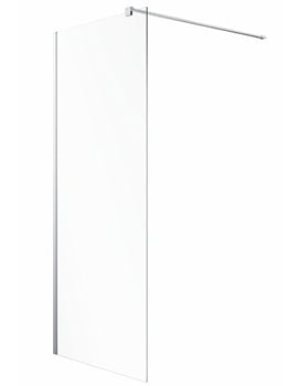 Twyford Geo Silver Walk In Flat Shower Panel With Fixed 8mm Glass