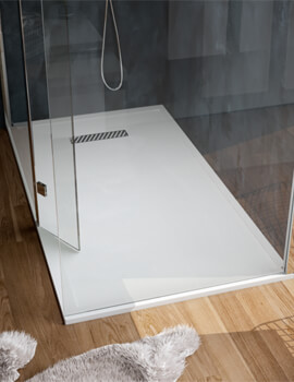 Saneux L25 Linear Rectangular Shower Tray With Waste - White