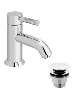 Vado Omika Chrome Mono Basin Mixer Tap With Patterned Handle