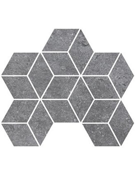RAK Fashion Stone Lappato 25.5 x 29.5cm Grey Rhomboid Mosaic Porcelain Tile