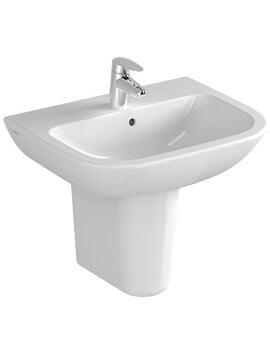 VitrA S20 1TH 60cm Washbasin With Large Half Pedestal