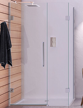 Aqata Design DS458 Left-Hand Hinged Door And Inline Panel Corner Enclosure