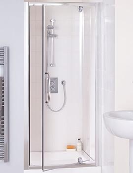 Lakes Classic Semi-Frameless Pivot Shower Door - Silver - W 700 x H 1850mm