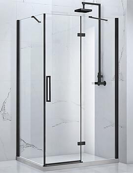 Frontline Aquaglass Onyx 8mm Black Framed Hinged Door With Inline Panel