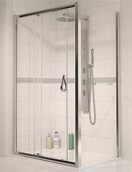 Aqualux Aqua 6 Sliding Shower Door 1200 x 1900mm Polished Silver
