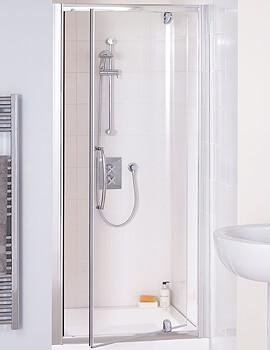 Lakes Classic Semi-Frameless Pivot Shower Door - Silver - W 750 x H 1850mm
