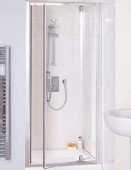Lakes Classic Semi-Frameless Pivot Shower Door - Silver - W 800 x H 1850mm