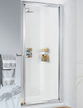 Lakes Classic Silver Framed Pivot Door - W 900 x H 1850mm