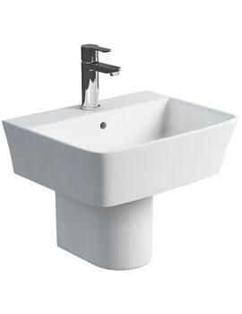 Britton Fine S40 Wash Basin 50cm With Round Fronted Semi Pedestal