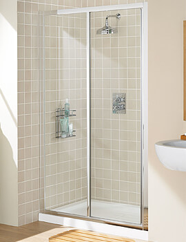 Lakes Classic Silver Framed Slider Shower Door - W 1100 x H 1850mm