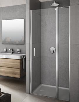Lakes Italia Vivere Hinged Pivot Door With In-Line Panel - W 900 x 2000mm