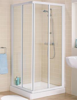 Lakes Classic Framed Corner Entry Slider Door Enclosure - White - W 900 x D 900mm