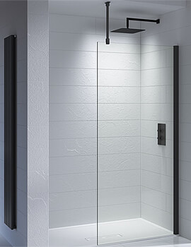 Kudos Ultimate Black 1952mm High Walk-In Glass Shower Panel