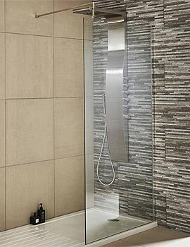 Nuie Premier Wetroom Walk-In 1000 x 1850mm Shower Panel With Support Bar