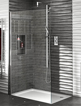 Aqata Spectra SP400 1950mm Height Walk-in Shower Screen For Recess