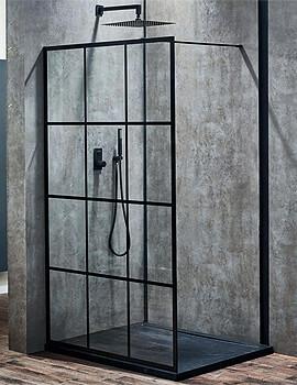 Frontline Aquaglass+ Velar 8mm Black Framed 1200mm Walk-In Enclosure