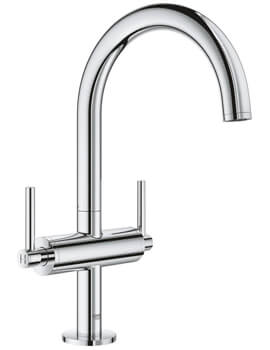 Grohe Atrio L Size Deck Mounted Basin Mixer Tap With Push-Open Waste - Lever Handle