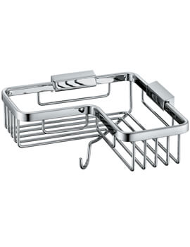Vado Wall Mounted Corner Basket With Hook - W 206 x D 206 x H 90mm