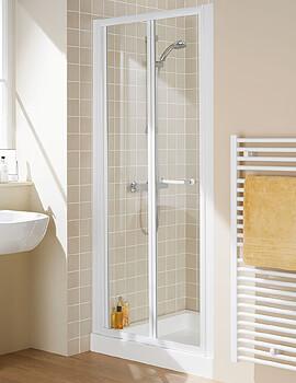 Lakes Classic Bi-Fold Door Semi-Frameless - White - W 1000 x H 1850mm